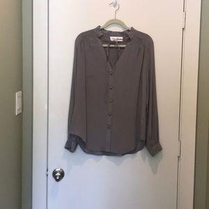 Gray silk blouse by Fifteen Twenty